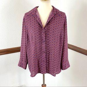 Covington geometric print blouse size XL
